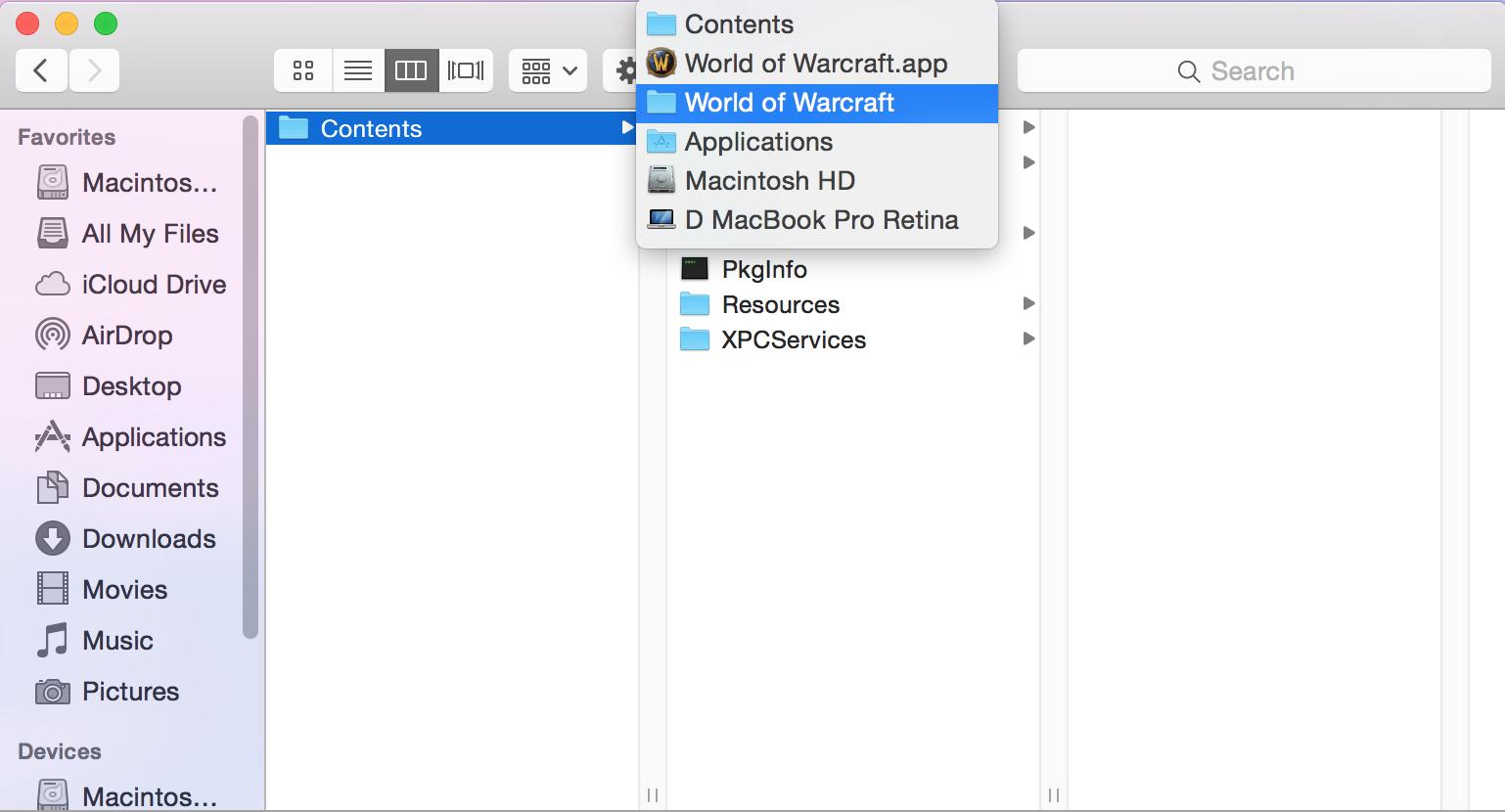 world of warcraft folder mac